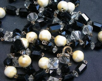 Vintage Single Strand Necklace - Clear Crystal, Black Glass and White Beads