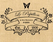 Paris digital download Printable Le Papillon vintage romantic Large image France For print on fabric burlap label napkins burlap pillow n170