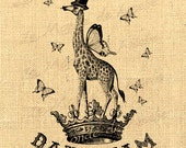 Daydream    giraffe wings fantasy butterfly crown dream vintage graphic art transfer gift tag label napkins burlap pillow Sheet n.754