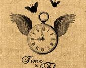 Time to Fly  wings watch clock men steampunk large image handwriting ephemera original gift tag label napkins burlap pillow Sheet n.763
