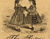 The Sisters     children clothing victorian fashion puppie transfer fabric download original label napkins burlap pillow Sheet n.238