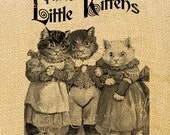 Three Little Kittens   ads pets cat animal advertising burlap large image vintage print transfer label napkins burlap pillow Sheet n.132