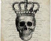 Crown and Skull  bones black gothic steampunk halloween scary for iron transfer download for fabric handbag napkins pillow Sheet n.788