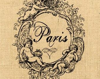 Cherubs  vintage romantic large image paris france print on iron transfer fabric gift tag burlap label napkins burlap pillow Sheet n.740