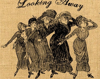 Looking Away  woman vintage caricature humor belle epoque iron transfer download for fabric handbag napkins pillow Sheet n.428