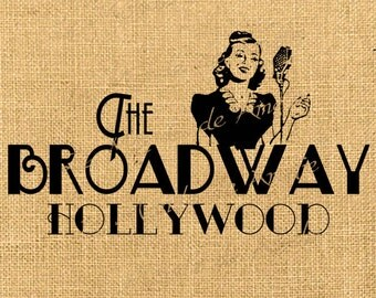 Broadway hollywood Art deco digital sheet image Star musical download For print on iron transfer fabric tag burlap label napkins pillow n511