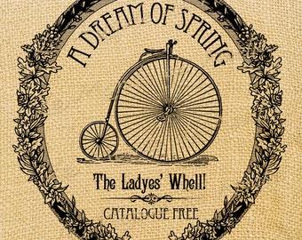 A Dream of Spring   bike bicycle woman large image printable art ephemera gift tag burlap label napkins burlap fabric pillow Sheet n.251