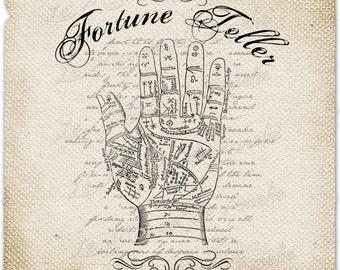 Fortune Teller    book of fate tarot mistery hand halloween printable sheet art transfer gift tag label napkins burlap pillow Sheet n.787