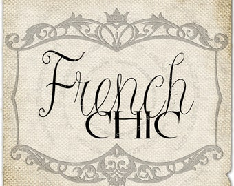 French Chic  burlap romantic france large words original download gift tag label print fabric transfer napkins pillow Sheet n.619