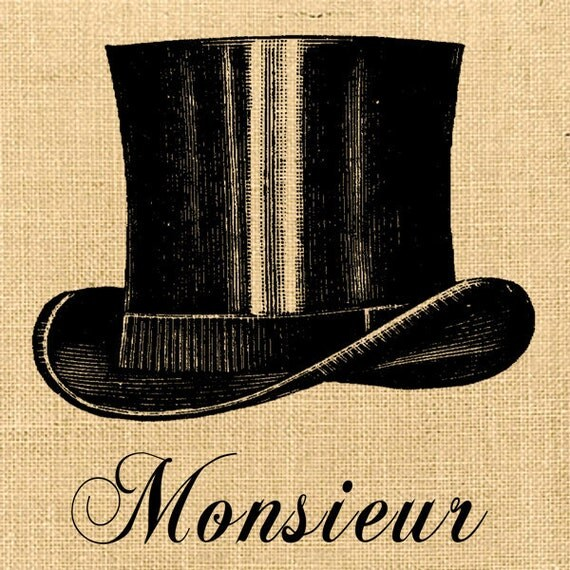 Monsieur vintage hat large image france fabric download original gift tag burlap label napkins burlap pillow Sheet n.171