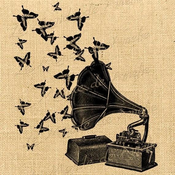 Music butterfly gramophone ephemera print on iron transfer fabric gift tag burlap label napkins burlap pillow Sheet n.173