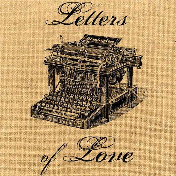 Letters of Love   large image typewriter vintage graphic art ephemera transfer gift tag label napkins burlap pillow Sheet n.760