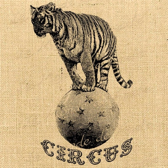 Vintage Circus Tiger Clipart