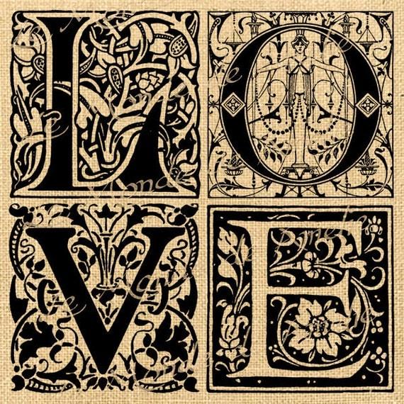 Valentine word Digital image Love letters Gothic burlap vintage ...