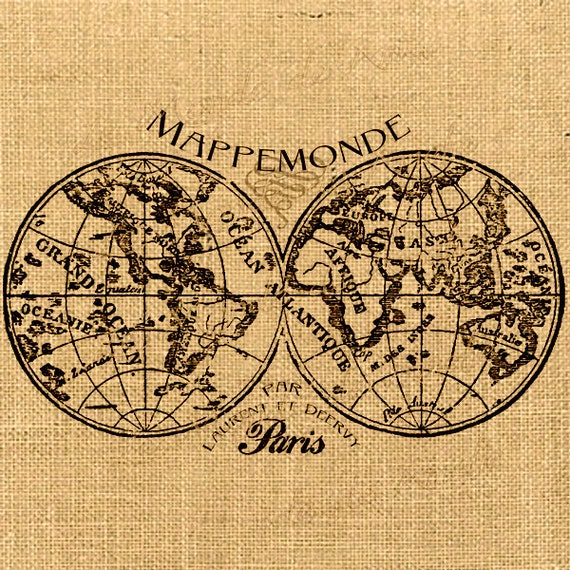 carte de la mappemonde du monde globe vintage romantique paris. Black Bedroom Furniture Sets. Home Design Ideas