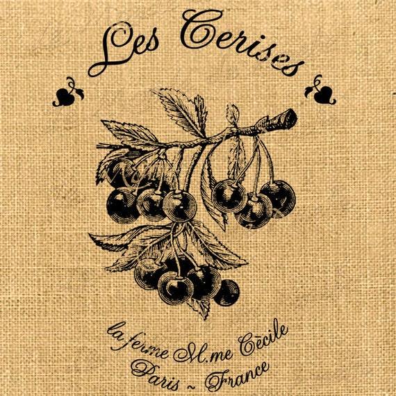 Les Cerises  cherries spring leave tree food large image paris france original gift tag label napkins burlap pillow Sheet n.612