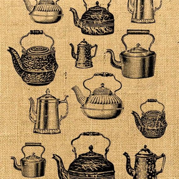 items similar to teapot digital collage sheet tea time images mad hatter vintage ephemera for. Black Bedroom Furniture Sets. Home Design Ideas