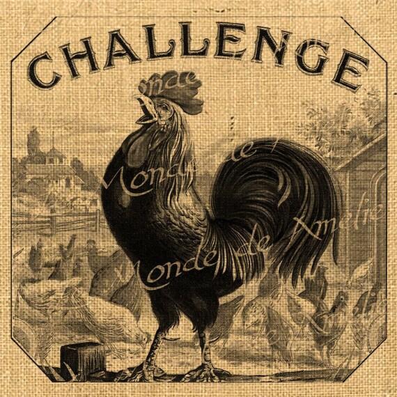 Challenge  rooster animal farm ads burlap large image vintage ephemera print transfer printable label napkins burlap pillow Sheet n.451