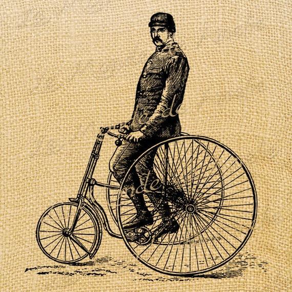 The Vehicle   bike bicycle large image printable art ephemera gift tag burlap label napkins burlap fabric pillow Sheet n.249