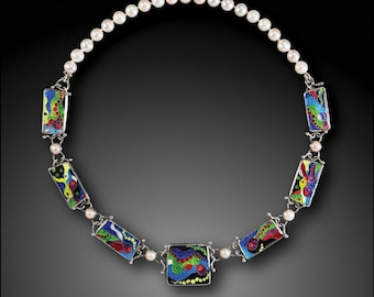 Fishers of Men - Necklace, Sterling silver with cloisonne basse-taille enamel on fine silver, and pearls