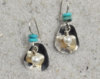 Pearl In The Oyster earrings - cultured freshwater pearls, Sterling silver, turquoise