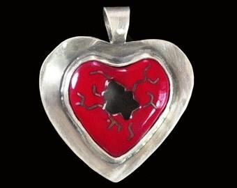 Reversible Cloisonne Enamel Red Broken Heart Pendant
