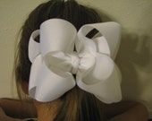White Double Layered Basic Boutique Hair Bow