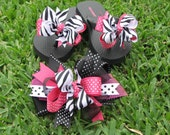 Miss Priss Zebra and Hot Pink Flip Flop and Bow Set