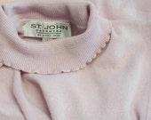 2Ply 100% Cashmere St.John Pink Ruffle T-neck Shell,S