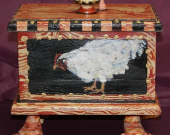 Which came first? OOAK Art,Chicken with Worm, Footed,Lidded Painted,Sculpted Box
