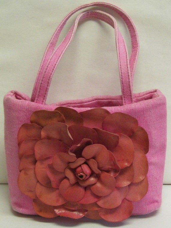 FINAL Listing SALE Paolo Masi Italian Pink Linen and Leather Flower bag