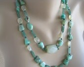 Chrysoprase Necklace / Green Aventurine / Mint Chunky Gemstone / Double Strand / Semi Precious