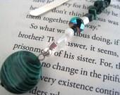 Malachite Swarovski Crystal  Bookmark Green Mystical Harmony