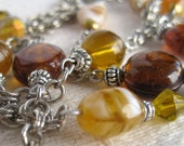 Glass Bead Lariat Necklace Amber Yellow  Silver Chain