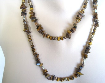 Tiger Eye Necklace / Long Gemstone Necklace / Double Wrap Strand / Golden Brown Caramel Gem