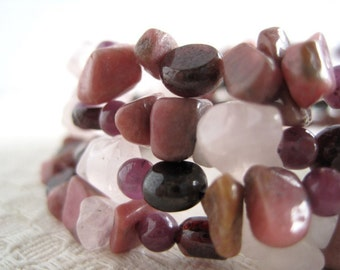 Pink Gemstone Bracelet / Multi Strand Stone Bracelet / Rose Quartz / Rhodonite / Garnet & Ruby / Rose Burgundy Wine