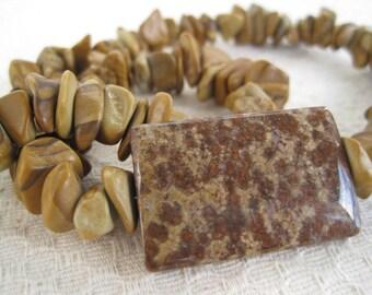 Jasper Necklace / Natural Stone Nugget / Earthy Mocha Brown / Spotted Jasper