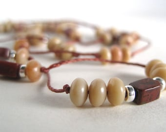 Agate Necklace / Agate & Opal Necklace / Delicate Hand Knotted Necklace / American Mined Stone / Moab Utah Agate