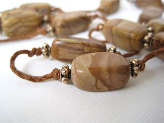 Long Jasper Necklace Hand Knotted Natural Hemp Cord