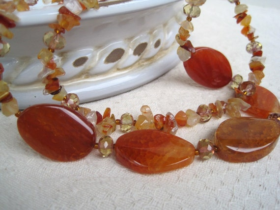 Fire Agate Carnelian Necklace Crystal Multiple Strand