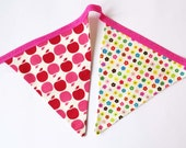 Girls bunting, pennant, pink, apple, floral, bright, kitsch, party, handmade,cotton