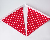 Polka dot bunting, red and white, toadstool, woodland, party, wedding, retro, kitsch