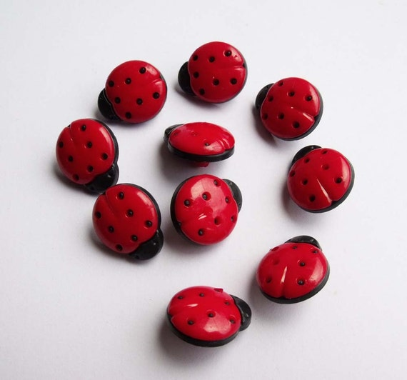 Ladybird Buttons Lady Bird Lady Bug Red