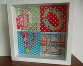 LOVE embroidered fabric picture in box frame