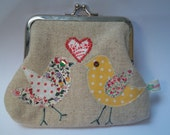 Two bird and heart coin purse