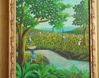 Original signed folk art painting from the island of Haiti