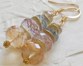 Paisley -  Candy Quartz Brushed14kt Gold Fill Earrings