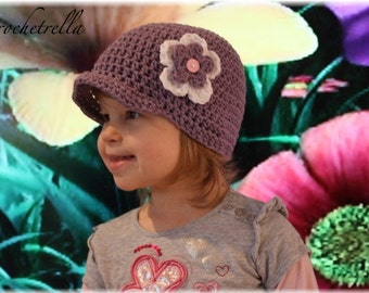 Girls Newsboy with Flower Hat -Visor Hat- Crochet PDF Pattern - Size 6 months - Adult - Welcome to Sell Finished Hats