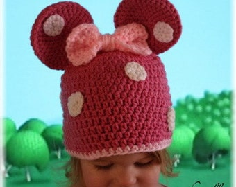 Minnie Mouse Inspired Hat with Bow and Polka Dots (Crochet Pattern)