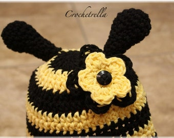 Crochet PDF Pattern: A Bee Hat w/Flower Option for Boy or Girl - Size 6 months - Adult  Welcome to sell finished hat for profit